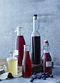 Homemade vinegar in flip-top bottles