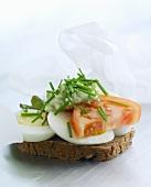 Smörrebröd topped with boiled egg (Denmark)