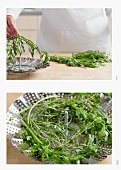 Fresh herbs in a steamer