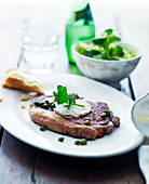 Beef steak with capers