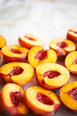 Peach Halves on a Sheet Pan