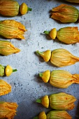 Patty Pan Squash Blossoms on a Sheet Pan