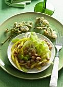 Bean salad with parsley tempura