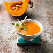 Cream of pumpkin soup with Hokaido pumpkin, lemongrass and coriander