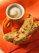 Cappuccino and apricot biscotti