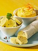 Herb butter, pepper butter and sandwich spread
