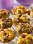 Maple syrup and pecan nut cookies with apricots and cranberries
