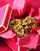 Oat and raisin cookies in a gift box