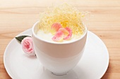 Rice pudding with rose petals and angel hair pasta