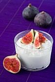 A yogurt dessert with fresh figs