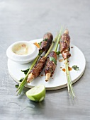 Beef and lemongrass kebabs with a lime mayonnaise