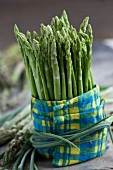 Green Thai asparagus wrapped in a napkin