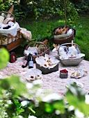 Sumptuous picnic on blanket in garden