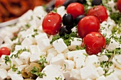 Sheep's cheese, cherry tomatoes and olives