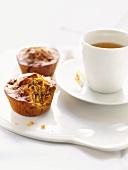 Raisin muffins and tea