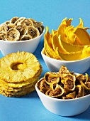 Various dried fruits (figs, pineapple, bananas and mango)