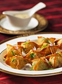 Potstickers (stuffed dough parcels, Asia) with ginger and prawns