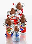 Chocolate Santas, semi-unwrapped