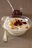 Almond rice pudding with cherry compote