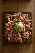 Wholemeal bread with shrimps and mayonnaise