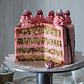 Stracciatella and raspberry cake, sliced