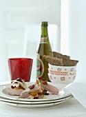 Veal fillet with cranberries, bread and beer for Christmas