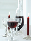 Red wine and candles for Christmas