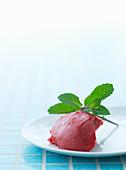 Raspberry ice cream with fresh mint