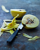 A quince, halved and peeled