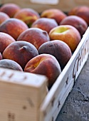 Fresh peaches in a wooden crate