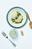 Potato dough ravioli and an endive medley