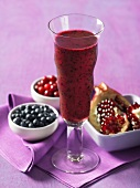 A blueberry, cranberry and pomegrante smoothie