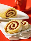A sponge roll with rhubarb jelly