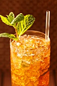 Mint Julep in a Glass with Straw and Mint Garnish