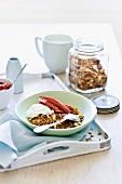 Apple and cinnamon granola with rhubarb and yogurt