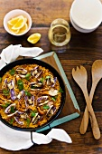Paella with prawns and clams