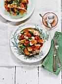 Panzanella al salmone (bread salad with salmon, Italy)