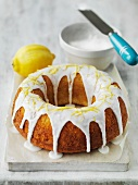 A Bundt Cake with lemon glaze