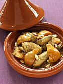 Chicken tagine with quinces and almonds (North Africa)