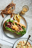 Soft Shell Crab Sandwich with Spicy Slaw; From Above