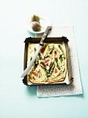 Tarte flambée with asparagus and figs
