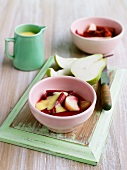 Rhubarb and pear compote