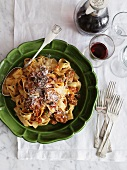 Tagliatelle with sausages and Parmesan cheese