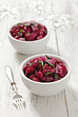 Herring salad with beetroot and beans for Christmas