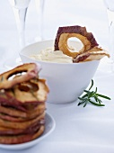 Mascarpone with rosemary and apple chips