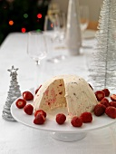 An ice cream bomb with strawberries for Christmas