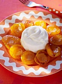 Roasted apricots with blanc manger (almond cream)