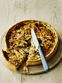 Spicy cheese and bacon tart