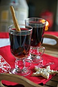 Mulled wine with fruits, elevated view, close-up