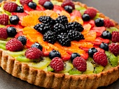 Fruit Tart with Kiwi, Raspberries, Blackberries, Blueberries and Oranges
